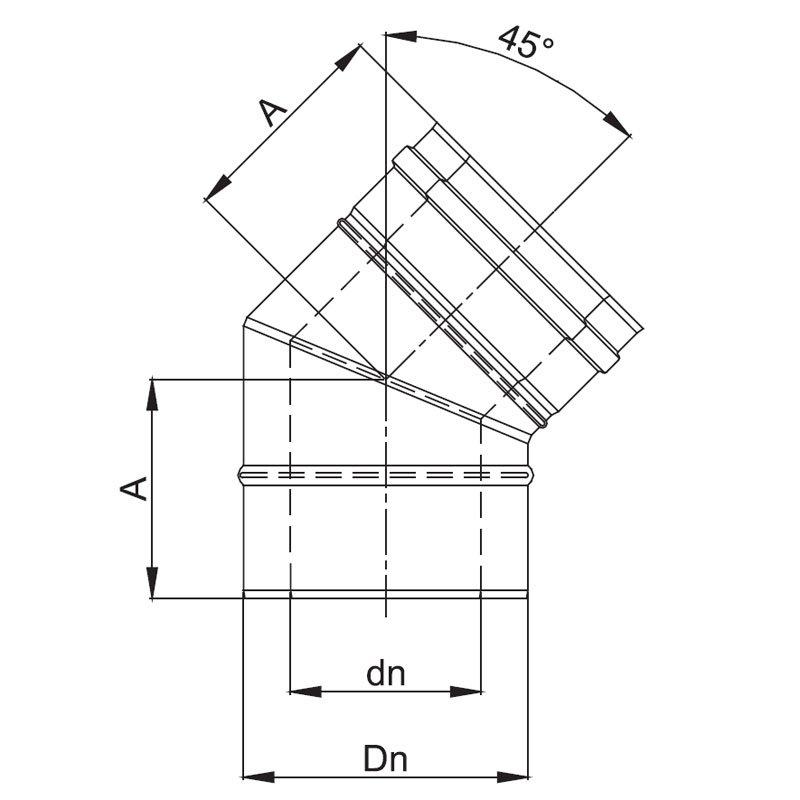 luft abgas system konzentrisch 45 bogen. Black Bedroom Furniture Sets. Home Design Ideas