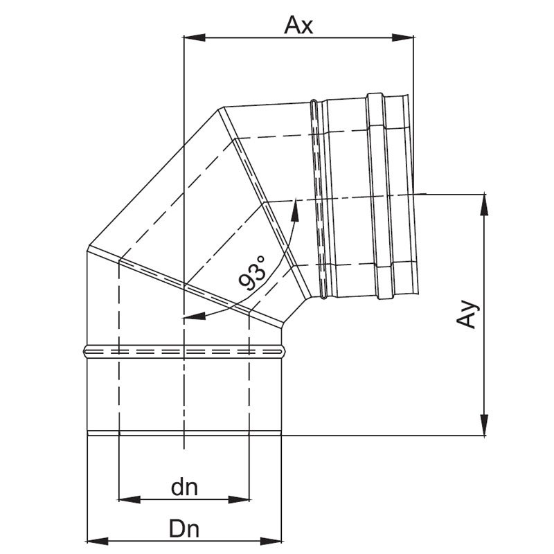 luft abgas system konzentrisch 93 bogen lackiert. Black Bedroom Furniture Sets. Home Design Ideas