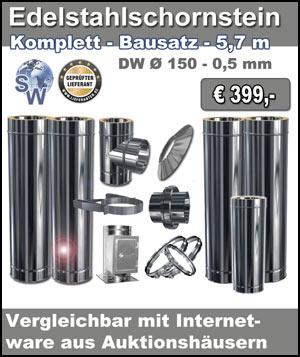 Edelstahlschornstein Bausatz - Sonderangebot 5,7m - Ø 150 - 0,5 mm