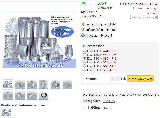 Produktbeispiel des Edelstahlschornstein Bausatz DW 150